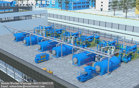 3D animation of DOING waste plastic to fuel oil pyrolysis plant