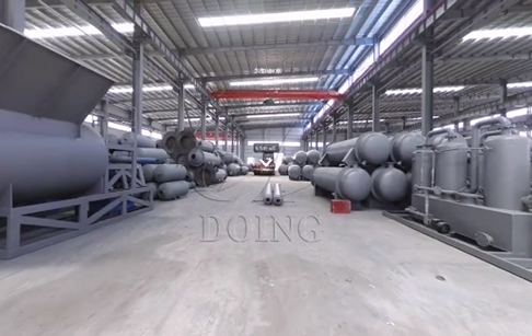 VR video show of Doing plastic pyrolysis equipment prduction plant