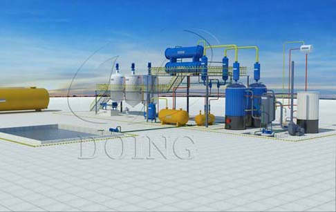 The process demo of waste oil to diesel distillation plant