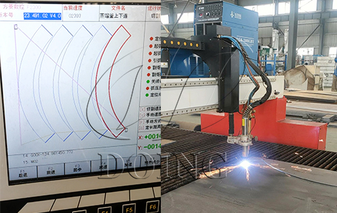 Plasma cutting machine introduced to DOING factory for higher quality plastic to oil machine