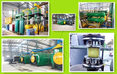 4 sets waste plastic to oil machine running well in Fujian, China