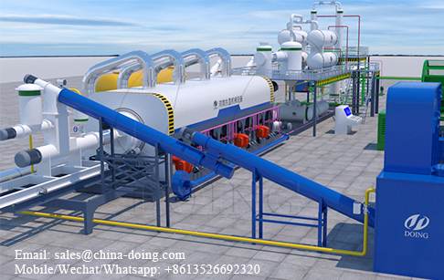 High capacity continuous waste plastic pyrolysis plant