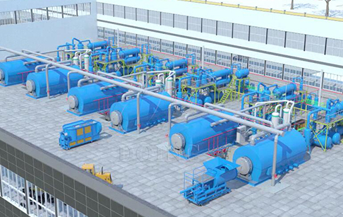 Plastic pyrolysis to oil recycling plant